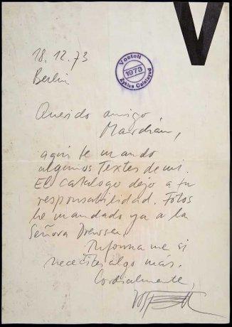 Carta de Wolf Vostell a Simón Marchán (1973). Archivo Marchán/Quevedo. Centro de Documentación