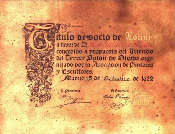 Título de Socio de Honor, a favor de José Gutiérrez-Solana, a propuesta del Jurado del Tercer Salón de Otoño. 1922. Archivo Solana. Centro de Documentación