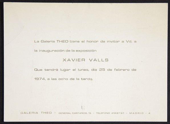 Tarjeta de invitación a la exposición de Xavier Valls en la Galería Theo (1974). Archivo Xavier Valls. Centro de Documentación