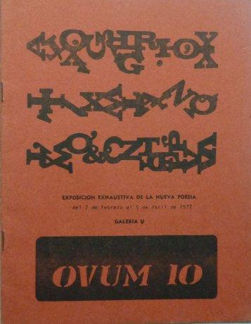 Tapa de OVUM 10 nº 10, Montevideo, mayo de 1972. Número dedicado a la Exposición Exhaustiva de la Nueva Poesía. Archivo Clemente Padín (UDELAR, Montevideo)