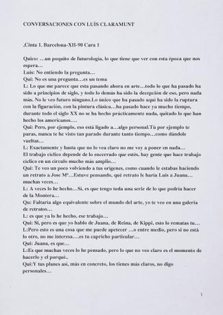 Transcripción de las Conversaciones con Luis Claramunt (fragmento) (1990). Archivo Quico Rivas. Centro de Documentación