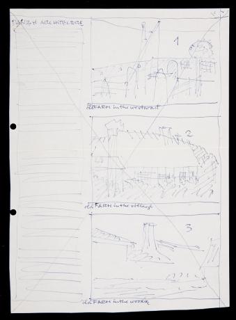 """Indicaciones de Karen Zahle para la edición del artículo """"Danish Architecture"""" en el n. 8 de la Revista de Arte (1971).  Archivo de la Revista de Arte (Mayagüez). Centro de Documentación"""