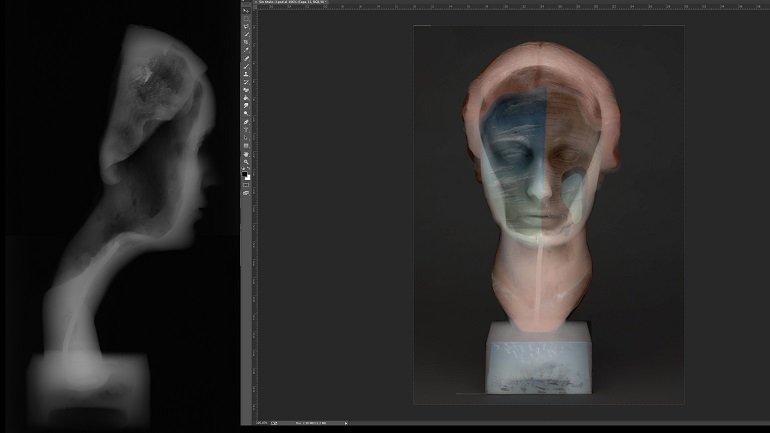 Transparencia de la fotografía con luz visible y la radiografía de Retrato de Joella
